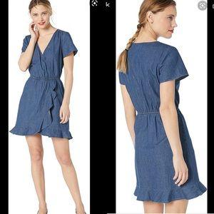 JCrew Chambray Ruffle Wrap Dress